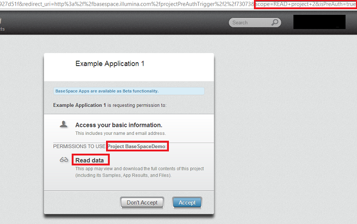 OAuth Dialog and Scope Example